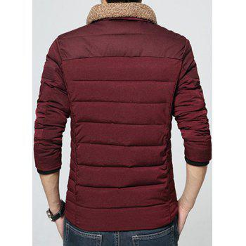 Star Stripes Print Spliced Rib Cuffs Patch Pocket Fur Collar Long Sleeves Men's Padded Coat - WINE RED 4XL