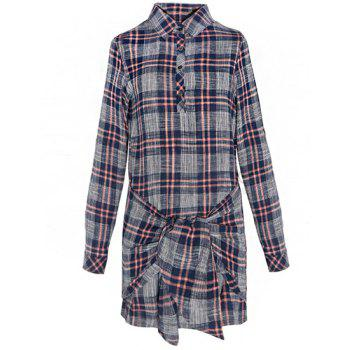 Vintage Checked Shirt Collar Self-Tie Long Sleeve Dress For Women