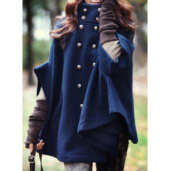 Casual Double-Breasted Stand Collar 3/4 Sleeve Wool Cloak Coat For Women