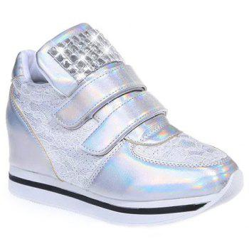 Fashion Lace and Rhinestones Design Sneakers For Women