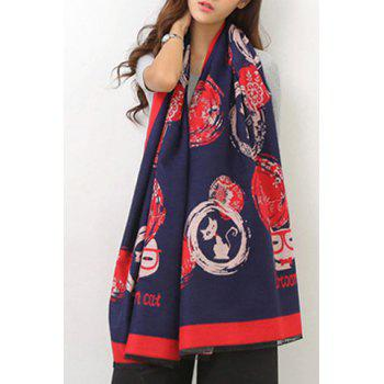 Chic Cartoon Cat and Flower Pattern Fringed Edge Women's Winter Scarf - CADETBLUE