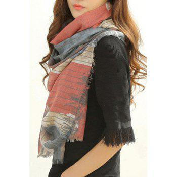 Chic Union Flag Pattern Fringed Edge Women's Scarf - RANDOM COLOR