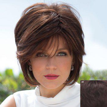 Human Hair Bouffant Natural Straight Capless Fashion Short Side Bang Wig For Women - BLACK BROWN MIXED 06# BLACK BROWN MIXED
