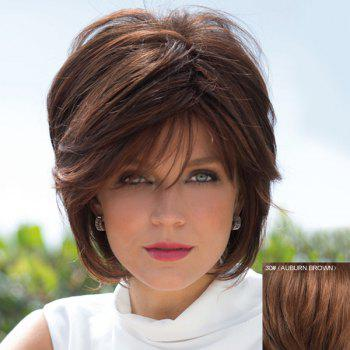 Human Hair Bouffant Natural Straight Capless Fashion Short Side Bang Wig For Women - AUBURN BROWN AUBURN BROWN