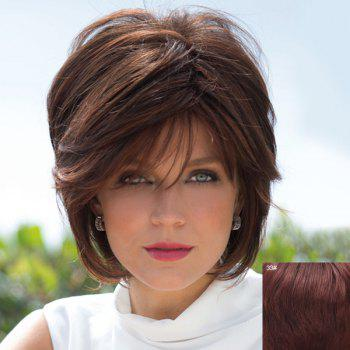 Human Hair Bouffant Natural Straight Capless Fashion Short Side Bang Wig For Women