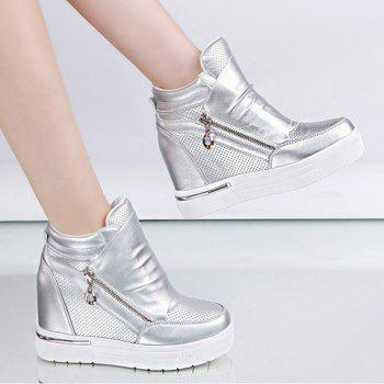 Fashion Solid Color and Zipper Design Wedge Sneakers For Women - SILVER 37