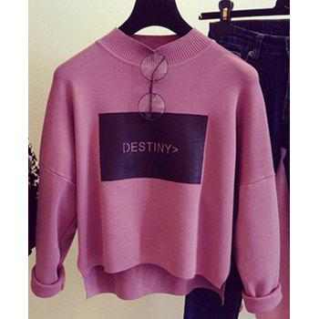 Cute Stand Collar Long Sleeve Letter Pattern Asymmetrical Women's Knitwear