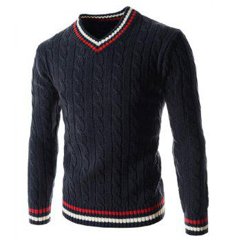 V-Neck Kink Design Slimming Colorful Stripe Long Sleeve Men's Sweater