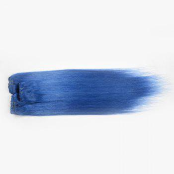 Trendy Long Clip In Assorted Color Silky Straight Human Hair Women's Capless Hair Extension -  BLUE