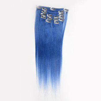 Trendy Long Clip In Assorted Color Silky Straight Human Hair Women's Capless Hair Extension