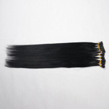 Fashion Long Stunning Silky Straight Women's Capless I-Tip Human Hair Extension - JET BLACK 01# JET BLACK