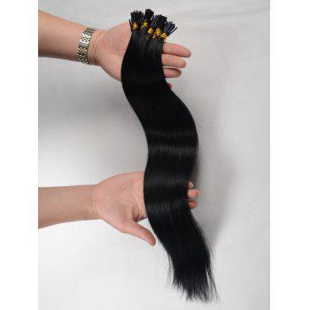 Fashion Long Stunning Silky Straight Women's Capless I-Tip Human Hair Extension -  JET BLACK