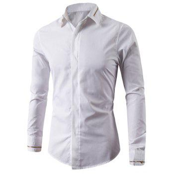 Simple Shirt Collar Multi-Zipper French Front Solid Color Long Sleeves Men's Slimming Shirt