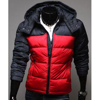 Color Block Splicing Hooded Simple Long Sleeve Men's Cotton-Padded Jacket