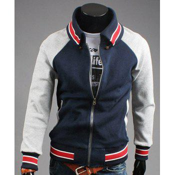 Personality Turn-down Collar Striped Rib Spliced Patch Pocket Color Block Men's Long Sleeves Jacket