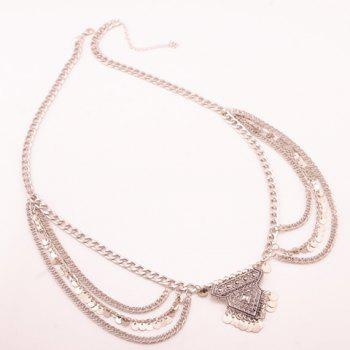 Stylish Solid Color Wafer Tassel Rhombus Shape Body Chain For Women - SILVER