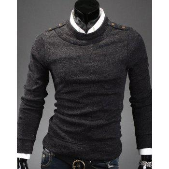 Faux Twinset Round Neck Epaulet Button Embellished Solid Color Men's Long Sleeves Sweater