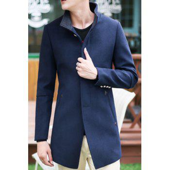Simple Stand Collar Back Slit Design French Front Long Sleeve Men's Coat
