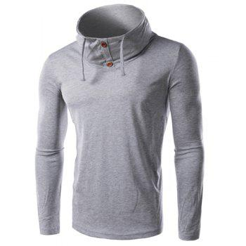 Slimming Cowl Neck Button Embellished Long Sleeve Men's T-Shirt