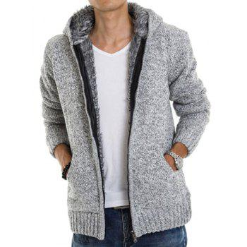 Casual Fitted Hooded Patch Pocket Assorted Color Men's Long Sleeves Thicken Cardigan - LIGHT GRAY M