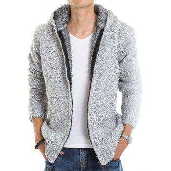 Casual Fitted Hooded Patch Pocket Assorted Color Men's Long Sleeves Thicken Cardigan