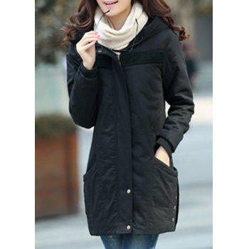 Fashionable Women's Hooded Long Sleeve Zip Coat - BLACK 2XL