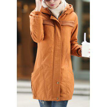 Fashionable Women's Hooded Long Sleeve Zip Coat
