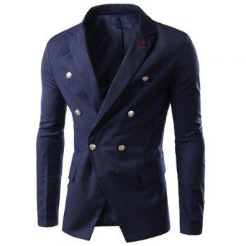 Solid Color Lapel Double Breasted Long Sleeve Slimming Men's Blazer