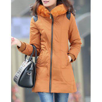 Buy Fashionable Women's Hooded Long Sleeve PU Leather Splicing Coat BROWN