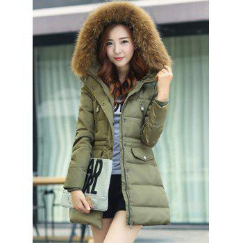 Buy Fashionable Women's Fur Collar Pure Color Long Sleeve Coat ARMY GREEN