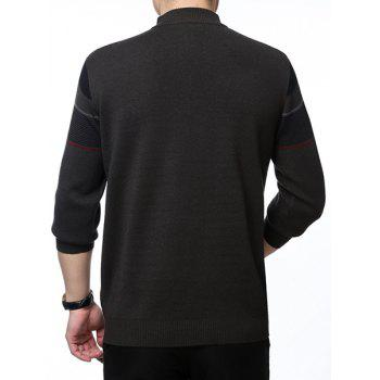 Thicken Colorful Stripes Jacquard Spliced Zipper Half-Collar Long Sleeves Men's Wool Blend Sweater - DEEP GRAY XL