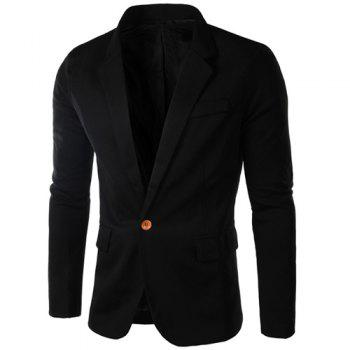 Buy Single-Breasted Lapel Long Sleeve Slimming Men's Blazer BLACK