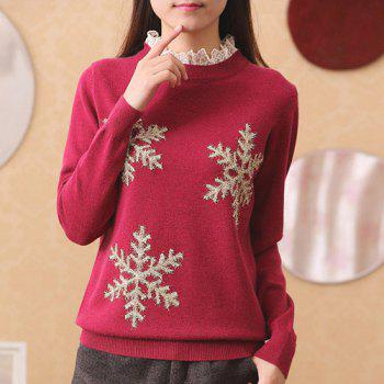 Trendy Women's Ruffled Neck Long Sleeve Snowflake Pattern Sweater