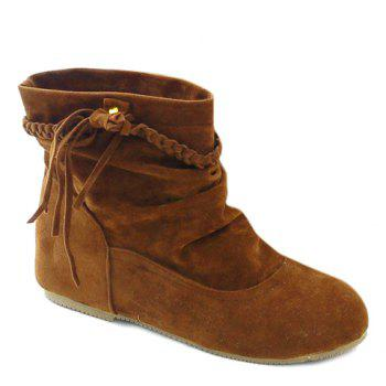 Simple Weaving and Ruched Design Short Boots For Women
