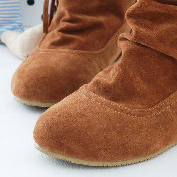 Simple Weaving and Ruched Design Short Boots For Women - KHAKI 37