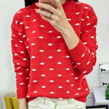 Cute Women's Jewel Neck Long Sleeve Fuzzy Embellished Sweater