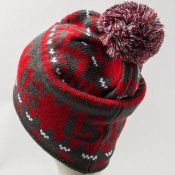 Chic Woolen Yarn Ball Embellished Abstract Pattern Women's Knitted Beanie -  RED