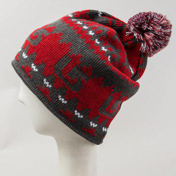 Chic Woolen Yarn Ball Embellished Abstract Pattern Women's Knitted Beanie - RED RED