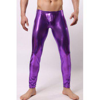 U Pouch Design Sexy Elastic Waist Metal Luster Close-Fitting Men's Pants