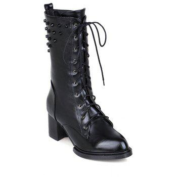 Retro Rivet and Lace-Up Design Women's Mid-Calf Boots