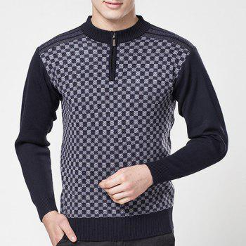 Hot Sale Zipper Half-Collar Color Block Special Plaid Jacquard Long Sleeves Men's Fitted Sweater