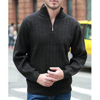 Hot Sale Half-Collar Zipper Fabric Spliced Stripes Pattern Slimming Men's Long Sleeves Sweater