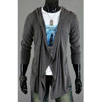 Asymmetric One Button Single-Breasted Solid Color Hooded Long Sleeves Men's Cardigan