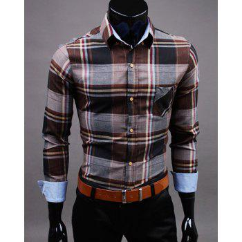 Slimming Shirt Collar One Patch Pocket Hit Color Plaid Long Sleeves Men's Button-Down Shirt
