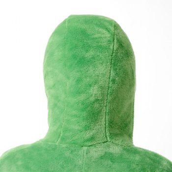 Cute Hooded Long Sleeve Loose-Fitting Button Design Women's Sleepwear - GREEN S