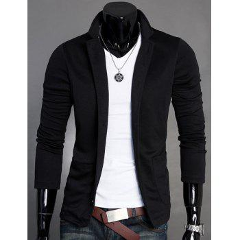 Splicing Design Stand Collar Long Sleeve Slimming Cotton Blends Men's Blazer