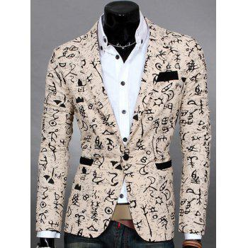 Symbol Print Lapel Design Long Sleeve Slimming Cotton Blends Men's Blazer