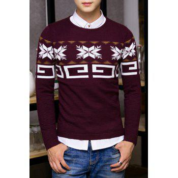 Stylish Round Neck Snowflake Geometric Jacquard Hit Color Men's Long Sleeves Sweater