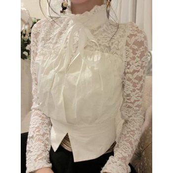 Sexy Ruff Collar See-Through Long Sleeve Lace Blouse For Women