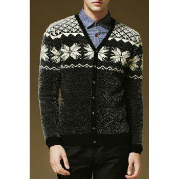 Hit Color Snowflake Argyle Jacquard V-Neck Long Sleeves Men's Thicken Mohair Cardigan